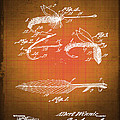Fly Fishing Bait Patent Blueprint Drawing Sepia by Tony Rubino