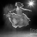 Flying Ballerina In Black And White by Cindy Singleton