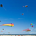 Flying Kites At St Augustine Beach Pier by Michelle Constantine