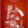 Foehl Revolver Patent Drawing From 1894 - Red by Aged Pixel