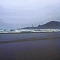 Foggy Beach And Lighthouse by Tom Janca