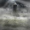 Foggy Landscape With Dark Tower by Jaroslaw Blaminsky
