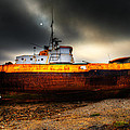 Foggy Sun Over Beached Fishing Boat In Rampside Uk by Dennis Dame