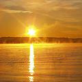 Foggy Sunrise Over Manhassett Bay by John Telfer