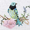 Folk Art Bird Embroidery Illustration by Stephanie Callsen