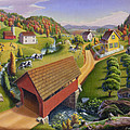 Folk Art Covered Bridge Appalachian Country Farm Summer Landscape - Appalachia - Rural Americana by Walt Curlee