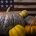 Folk Art Flag And Pumpkins by Garry Gay
