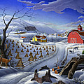 Folk Art Winter Landscape by Walt Curlee
