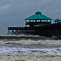 Folly Beach Pier During Sandy by E Karl Braun