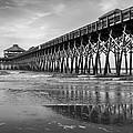 Folly Beach Pier In Black And White by Curtis Cabana