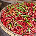 Food Market With Fresh Chili Peppers by Sophie McAulay