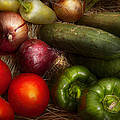 Food - Vegetables - Onions Tomatoes Peppers And Cucumbers by Mike Savad