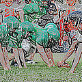 Football Playing Hard 3 Panel Composite Digital Art 01 by Thomas Woolworth
