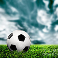 Football Soccer A Leather Ball On Grass by Michal Bednarek