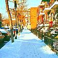 Footprints In The Snow Montreal Winter Street Scene Paintings Verdun Christmas  Memories  by Carole Spandau