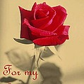 For My Love Vintage Valentine Greeting Card  by Taiche Acrylic Art