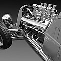 Ford Coupe Hot Rod Engine In Black And White by Gill Billington