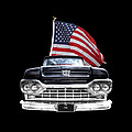 Ford F100 With U.s.flag On Black by Gill Billington