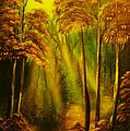 Forest Sunrays- Original Sold -buy Giclee Print Nr 38 Of Limited Edition Of 40 Prints  by Eddie Michael Beck