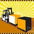 Forklift Truck Materials Handling Retro by Aloysius Patrimonio