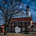 Fort Gratiot Lighthouse And Buildings With Clouds by Ronald Grogan