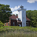 Forty Mile Point Lighthouse In Michigan Number 450 by Randall Nyhof