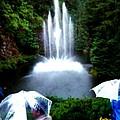 Fountain And Umbrellas by Gail Matthews