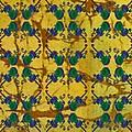 Four Fancy Fiddles Tiled On Gold Batik by Sue Duda