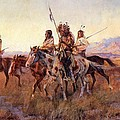Four Mounted Indians by Charles Russell