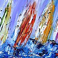Four Sails To Four Winds Available As A Signed And Numbered Print On Canvas See Www.pixi-art.com by Mary Cahalan Lee- aka PIXI