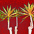 Four Yuccas In Red by Andre Aleksis
