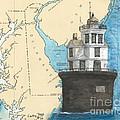 Fourteen Ft Bank Lighthouse De Nautical Chart Map Art by Cathy Peek