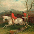 Foxhunting Coming To A Fence Full Cry Signed And Dated by Litz Collection