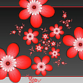 Fractal Cheerful Red Flowers by Gabiw Art
