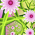 Fractal Fantasy Neon Flower Garden by Gabiw Art