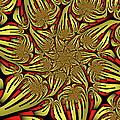 Fractal Golden And Red by Gabiw Art