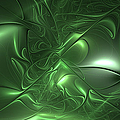 Fractal Living Green Metal by Gabiw Art