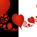 Fractal Red Hearts by Gabiw Art