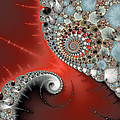 Fractal Spiral Art Red Grey And Light Blue by Matthias Hauser