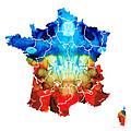 France - European Map By Sharon Cummings by Sharon Cummings