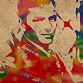Frank Sinatra Watercolor Portrait On Worn Distressed Canvas
