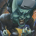 Frankinstein Playing The Air Guitar - Parody - Illustration - Monster Monsters - Humorous by Walt Curlee