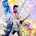 Freddie Mercury - Queen Original Painting Print by Ryan Rock Artist