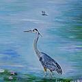 Free Spirit Blue Heron by Leslie Allen