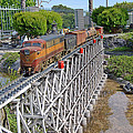 Freight Train Bridge Crossing by Linda Brody