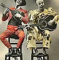 French Clown Musicians Vintage Art Reproduction Tint by Lesa Fine