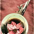 French Horn And Red Flower Painting In Color 3435.02 by M K Miller