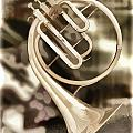French Horn Antique Classic Painting In Color 3428.02 by M K  Miller