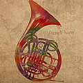 French Horn Brass Instrument Watercolor Portrait On Worn Canvas by Design Turnpike