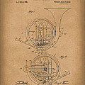 French Horn Musical Instrument 1914 Patent Art  Brown by Prior Art Design